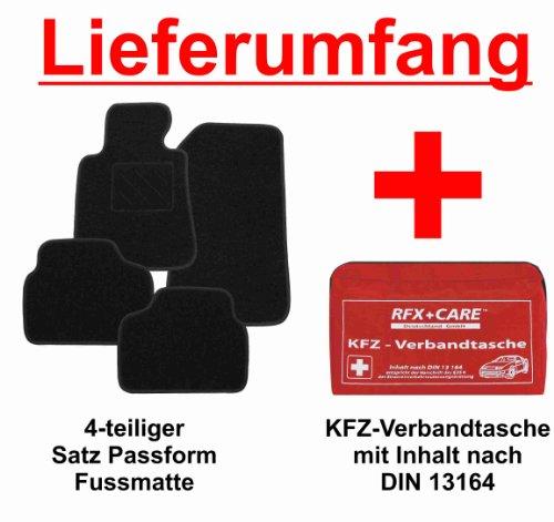 SCHNÄPPCHEN Passform Fussmatte schwarz + KFZ-Verbandtasche für Mercedes E-Klasse W211 / S211 Limousine / T-Modell Kombi Bj. 03/02 - 02/09 mit Mattenhalter vorne