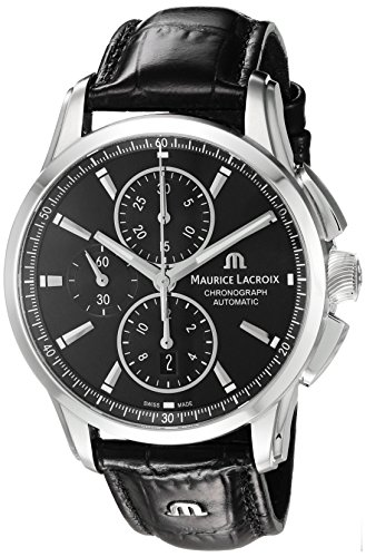 Maurice-Lacroix-Mens-Pontos-Swiss-Automatic-Stainless-Steel-and-Leather-Casual-Watch-ColorBlack-Model-PT6388-SS001-330-1