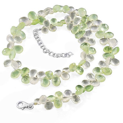 925 Sterling Silver Rose Quartz Prehnite Natural Gemstone Beads Strand Necklace 17 Inches Jewelry Set