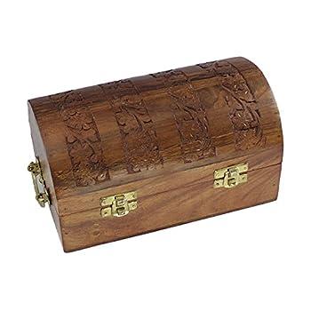 Handmade Decorative Wooden Jewelry Box Jewelry Organizer Keepsake Box Treasure Chest Trinket Holder Lock Box Watch Box Storage Box 8 x 5 Inches Birthday Housewarming Gift Ideas For Men & Women