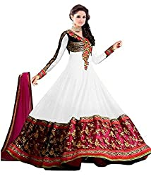 Tellywoodstyle Women's Georgette Unstitched Dress Material (Nanar white 04_White_Free Size)