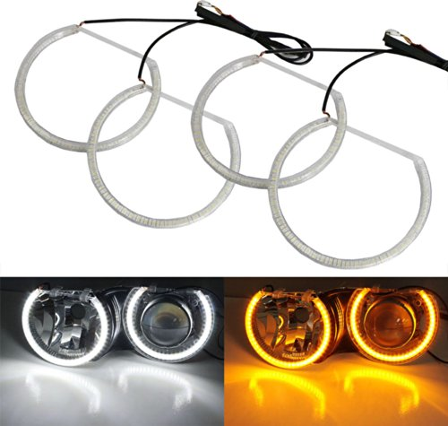 Ijdmtoy Bmw Switchback Dual-Color White/Amber 336-Smd Led Angel Eyes Halo Rings Kit For Bmw E36 E46 3 E39 5 E38 7 Series With Adaptive Xenon Hid Headlight