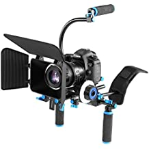 YELANGU YLG1102A-B Dual Handles Camera Shoulder Mount Kit With Matte Box & C Mount For DSLR Camera / Video Camera