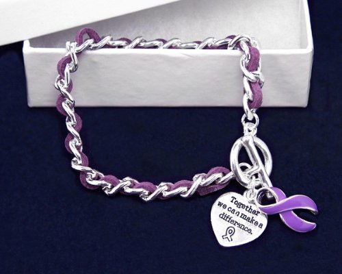 Purple Ribbon Bracelet-Leather Rope (18 Bracelets)