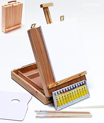 XL-TISCHSTAFFELEI-MALSET-Riva-35-teilig-mit-Acrylfarben-Pinselset-Keilrahmen-Utensilienkoffer-Kofferstaffelei