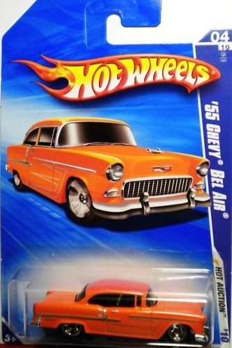 2010 HOT WHEELS HOT AUCTION 04 OF 10 RED '55 CHEVY BEL AIR - 1
