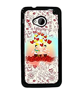 PrintDhaba Cartoon D-3603 Back Case Cover for HTC ONE M7 (Multi-Coloured)