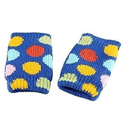 Bestnow Winter Warmer Polka Dot Knitted Mittens Fingerless Arm Glove (Blue)