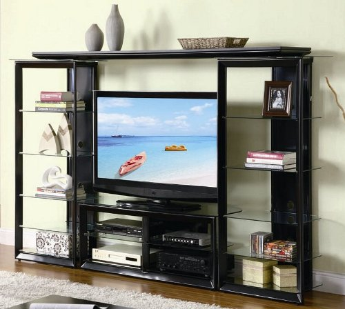 3pc metal home entertainment center with glass shelves in black finish - Glass Entertainment Center