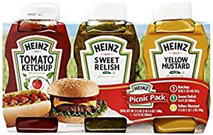 Heinz Ketchup, Relish and Mustard Picnic Pack, 3 Bottles