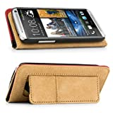 VanGoddy Book Style Folio | Mary Leatherette Flip Case Cover (FIRE RED & BLACK) for HTC One / M7 4G LTE Smartphone + Black Mini Suction Bluetooth Speaker with Microphone