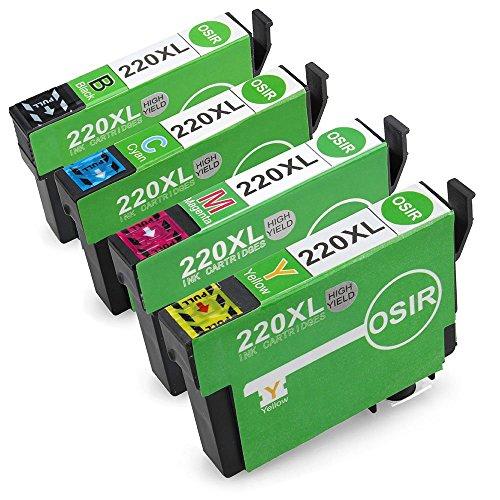 OSIR Epson 220 Ink Cartridge for 1 Set High Yeild Compatible with Epson WF-2650 WF-2630 WF-2660 XP-320 XP-420 XP-424(1-Black,1-Cyan,1-Magenta,1-Yellow)