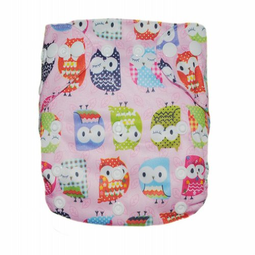 Alva Baby One Size Washable Reusable Cloth Diaper Fit for 6-33lbs Baby (Pink Owl) Two Inserts N16 - 1