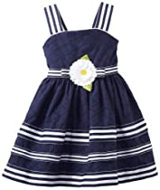 Sweet Heart Rose Girls 2-6X Nautical Eyelet Dress, Navy/White, 6X