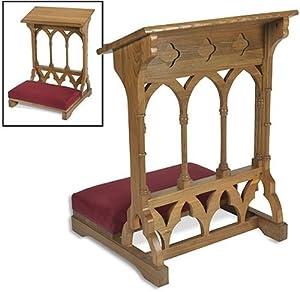 Amazon.com - Oak Wood Padded Prayer Kneeler Home or Church ...