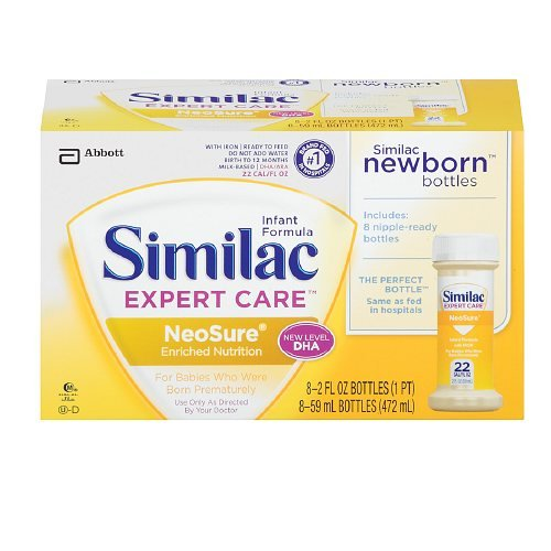 Similac Ready To Feed Bottles, Expert Care Neosure Formula 2 Fl Oz Bottles 8 Ea(Pack Of 2)