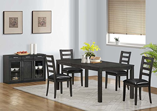 "CHARCOAL GREY 38""X 60""X 78"" VENEER TOP DINING TABLE (SIZE: 78L X 38W X 30H)"
