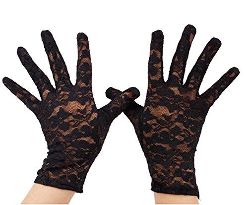 VIVIANSBRIDAL Women's 2016 Short Elegant Lace Wedding Gloves, Black