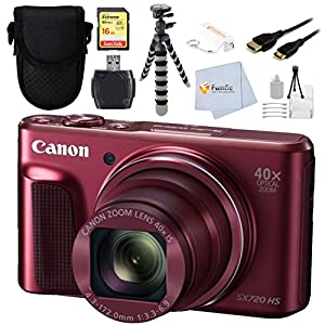 Canon Power Shot SX720 HS Digital Camera(Red) - International Version (No Warranty) Bundle Includes 16GB Memory Card + High Speed Card Reader + HDMI Cable + Point & Shoot case + Power bank & More!