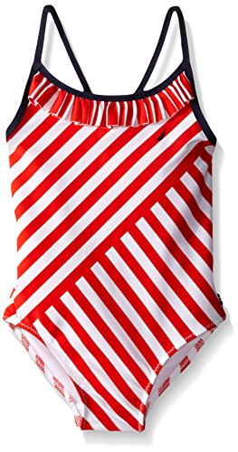 Nautica Little Girls' Multi-Directional Stripe One-Piece, Red, 8