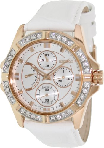Women's Stainless Steel Case Leather Bracelet Silver Dial Crystals Chronograph