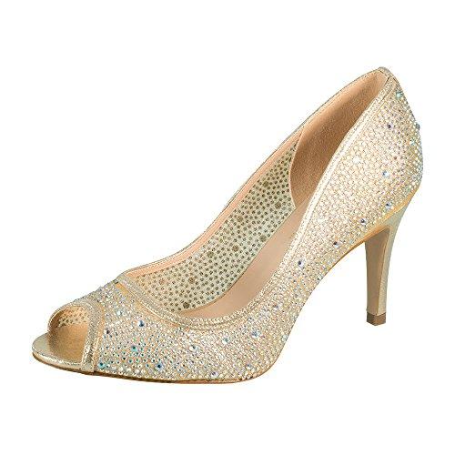 Jolie-1 Women's Rhinestone Middle Heel Slip-on Dress Pump for Wedding Prom Nude 7