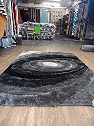 Grey with Black Shaggy Area Rug, Handmade Measuring at ~5\' ft. x 7\' ft.