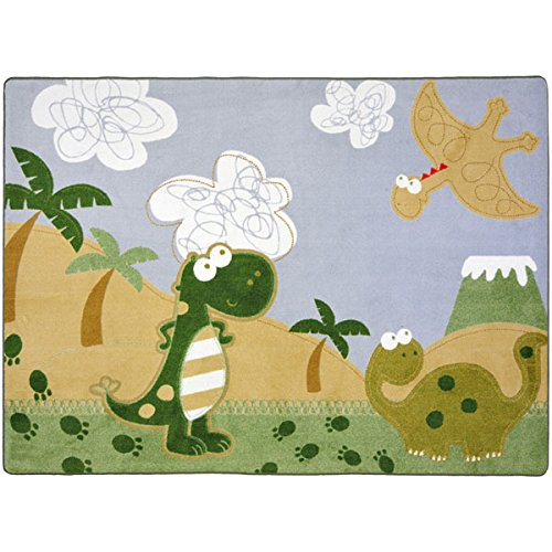 "Joy Carpets Kid Essentials Infants & Toddlers Dino Fun Rug, Multicolored, 3'10"" x 5'4"""