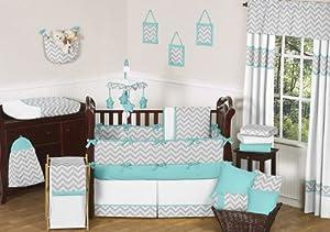 Gray and Turquoise Chevron Zig Zag Baby Bedding - 9 pc Crib Set by Sweet Jojo Designs