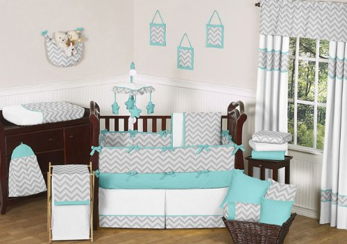 Gray and Turquoise Chevron Zig Zag Baby Bedding – 9 pc Crib Set by Sweet Jojo Designs image
