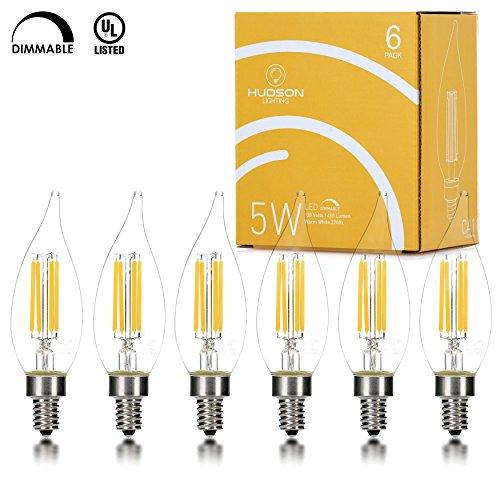 Hudson Lighting Dimmable LED Flame Tip Candelabra Bulb- UL Listed- 5 Watt- 450 Lumen- E12 Base- 2700K- Indoor or Outdoor- 6 Pack (Dimmable Led Candelabra Bulb compare prices)