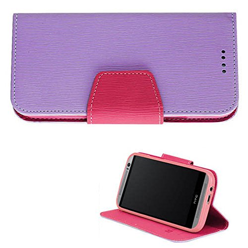Mylife Lavender Purple + Pink Inside {Rigid Design Magnetic Tab Design} Faux Leather (Card, Cash And Id Holder + Magnetic Closing) Slim Wallet For The All-New Htc One M8 Android Smartphone - Aka, 2Nd Gen Htc One (External Textured Synthetic Leather With M