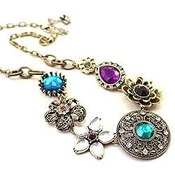 Shining Diva Fashion Colorful Gem Stylish Modern Choker Statement Necklace For Girls and Women