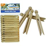 Hangerworld Pack of 24 Traditional Wooden Dolly Clothes Garment Pegs for Washing Lines & Craft