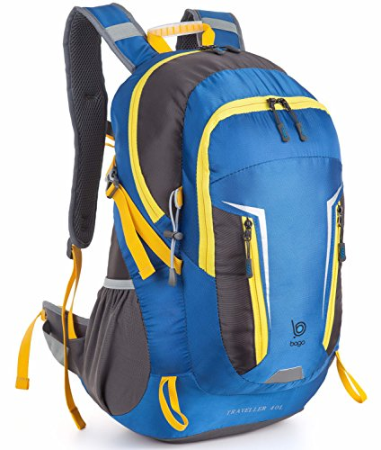 Bago Hiking Backpacks - Mesh Ventilation System & Waterproof Cover - Best for Backpacking , Carry On , Daypack. For Men , Women , Kids - Small (40L)