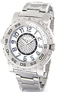 JOJINO Real Diamond Watch Mens Deluxe Silver Tone Case Metal Band MJ-1228