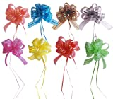 "Set of 8 Elegant Pull Bows with 35"" Long Ribbon Strings to Wrap the Box, Assorted Colors, Red, Pink, Yellow, Green, Brown, Silver, Blue (COLORS AND ASSORTMENT MAY VARY)"