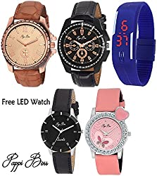 Pappi Boss Special Dual Couple Combo Leather Analog Casual Watches for Men, Women, Boys, Girls - FREE DIGITAL LED BAND WATCH