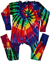 Tie Dyed Shop Extreme Rainbow Tie Dye Union Suit-XL-tall-Multicolor