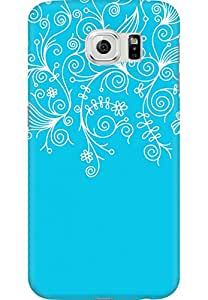 AMEZ designer printed 3d premium high quality back case cover for Samsung Galaxy S6 (sky blue white design pattern abstract)