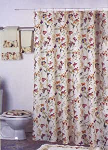 New Butterfly Floral Fabric Shower Curtain Liner Set Purple Green