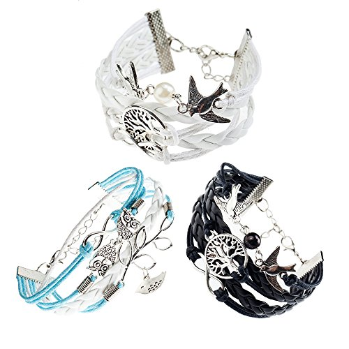 Gorgeous 3 piece set white blue black romantic woven leather strap infinity bird Dove Pearl strap bracelet Bangle By VAGA