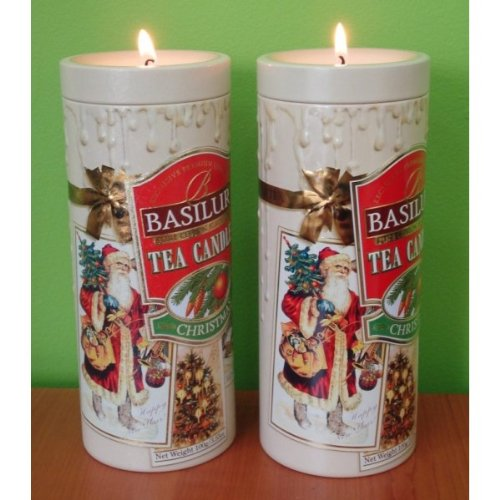 """Basilur Pure Ceylon Black Tea With Sunflower And Papaya Festival Collection """"Tea Candle Christmas"""" In Metal Caddy, 100 Gr"""