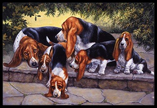 Caroline's Treasures BDBA0276MAT Basset Hound Puppies, Momma and Daddy Indoor or Outdoor Mat, 18