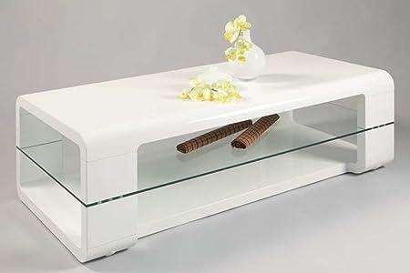Table basse JUSTINE coloris Blanc haute brillance, 1200 x 600 x 400 mm -PEGANE-