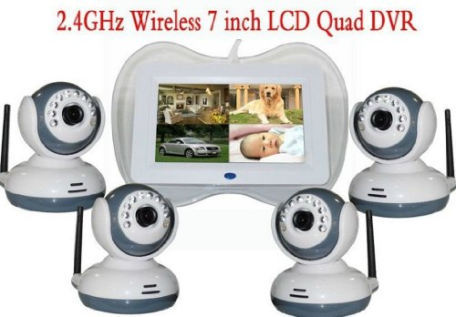 "2.4G Wireless 4 Cameras With 4 Ch Quad Dvr 7 ""Lcd Baby Monitor Intercom System With High Definition Cmos Image Sensor"
