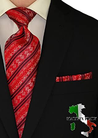 Berioni Hand Made in Italy 100% Woven Silk Mens Neck Tie + Pocket Square Jacquard Woven Tie and Hanky Set Red White U1 (Red White U1)