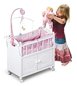 Amazon Com White Amp Pink Wood Crib Cradle Bed With Clothes