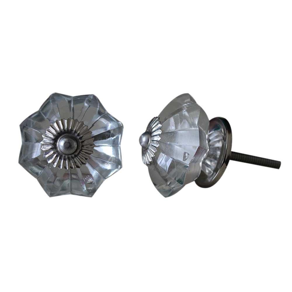 Set of 10 Handmade Glass Knobs Clear Vintage Designer Flower Shape Furniture Handle Cabinet Drawer Pull Silver Finish 0