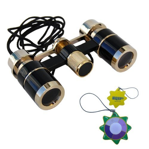 Hqrp Ultra Compact Light Elegant Black Color With Gold Trim Theater Glasses Binoculars 3 X 18 With Accessory Kit Plus Uv Meter